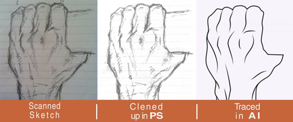 Hand tracing Process for Image to vector conversion