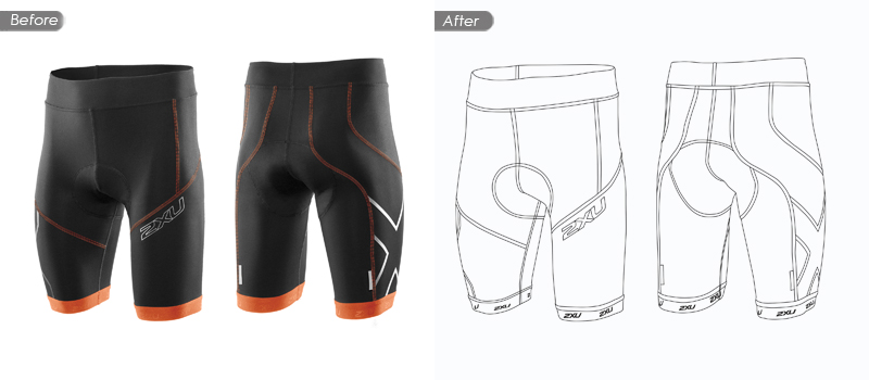 short pant raster to vector before and after image