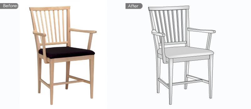 Chair vector before and after