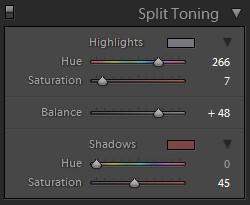 lightroom split tone panel