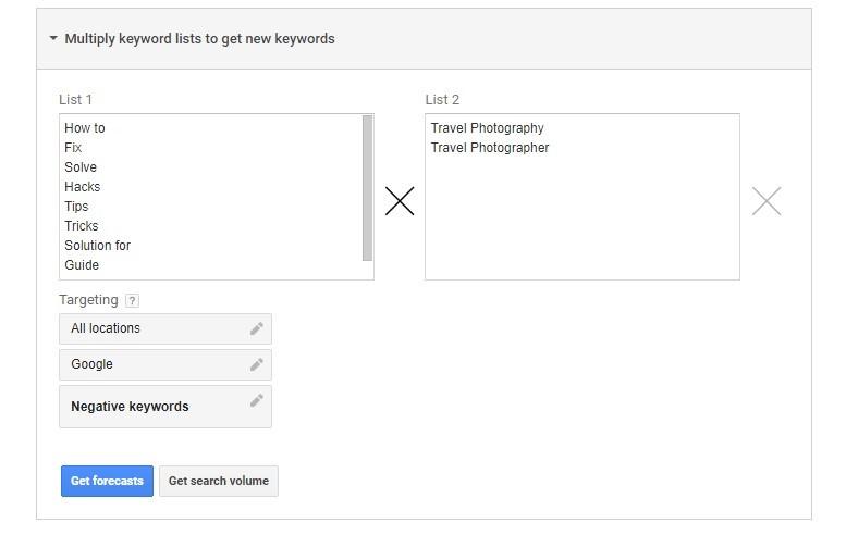 Multiply Keyword lists to get new keyword
