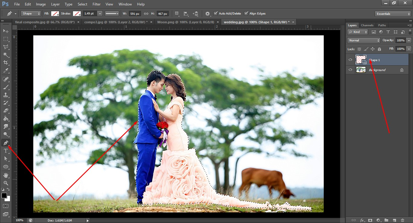 Process of couple image compositing