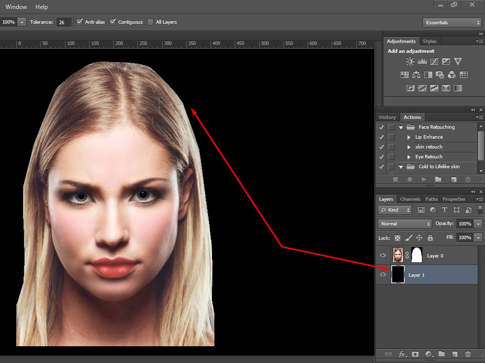 take a new layer under the active image layer