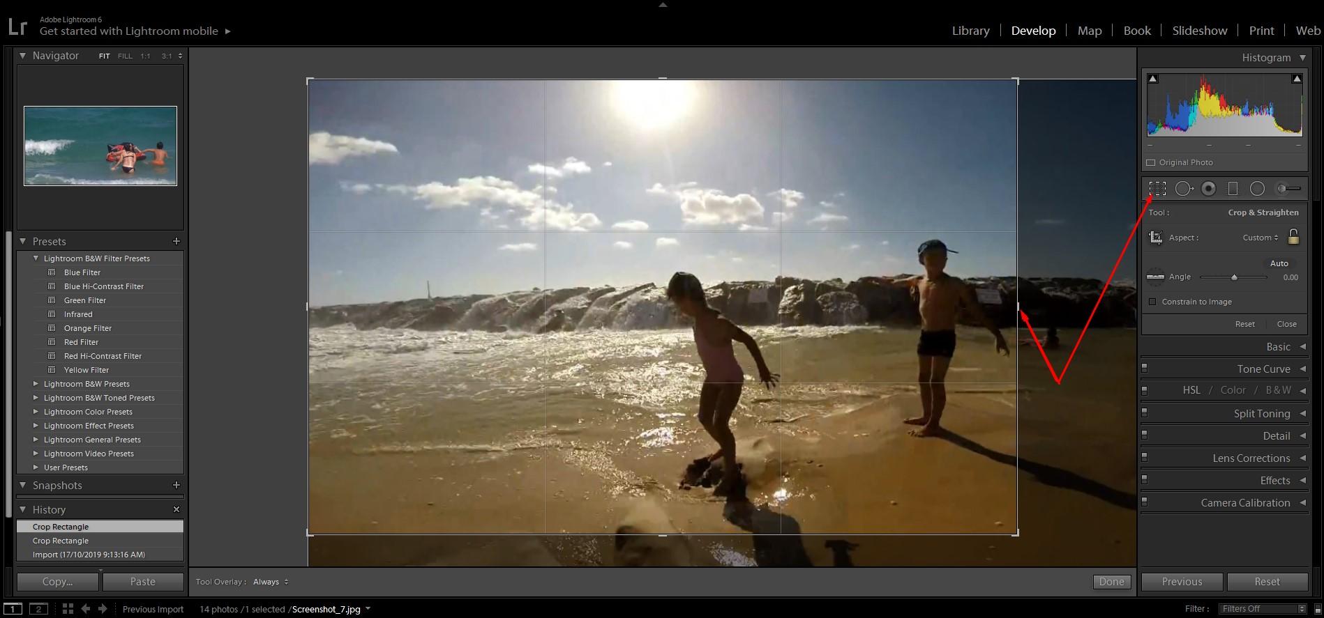 Image 1-beach photo editing process