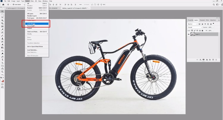 select color range from menu