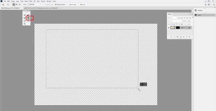 select object selection tool and drag object area