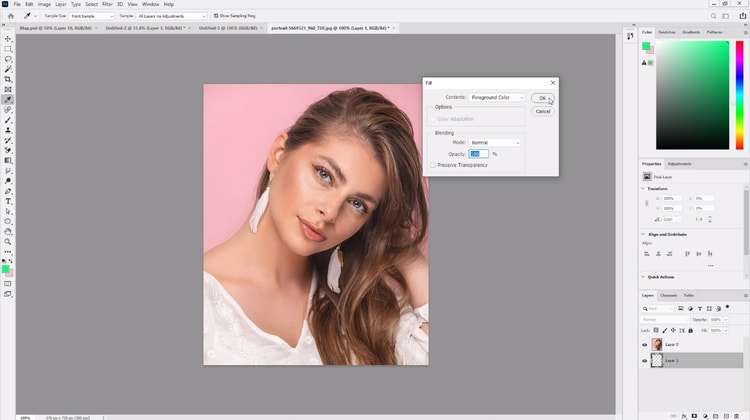 selecting foreground color