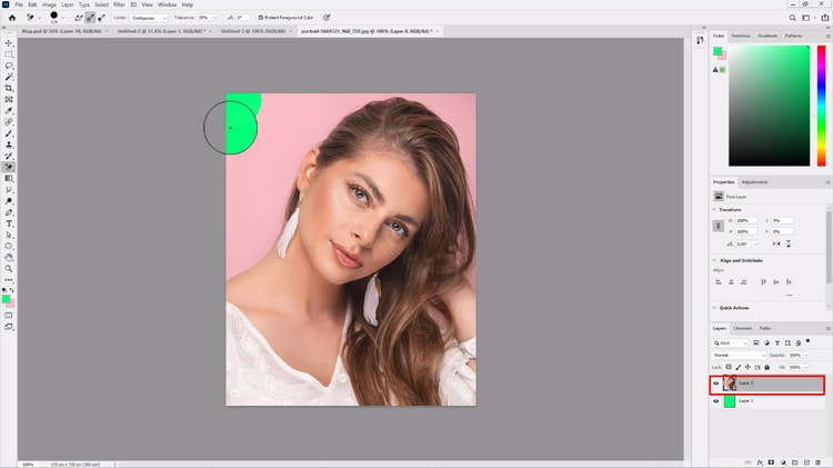 using eraser tool after selecting layer 0