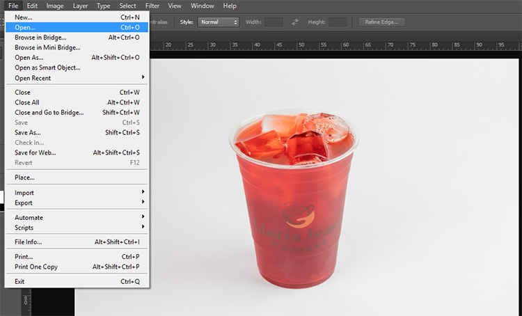 Screenshot 1 ( Open an Image in Photoshop)