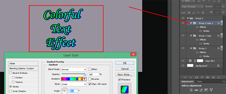 Apply gradient overlay on the 1st copy of the group layer